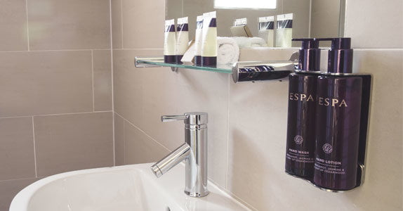 Ensuite with ESPA toiletries at The Stag on the River, Godalming