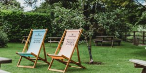 Deck chairs in the pub garden